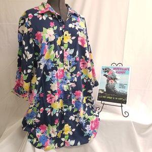 Ralph Lauren 2x Floral Cotton Blend Sleep Shirt
